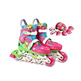 Hengxiang Fitness Inline Skates, Gold Triangle Bow Protection System, 9MM Aluminum Alloy Bracket, PU Perfusion Wheel, Breathable Mesh Upper, Pink, Blue Workout Roller Skates