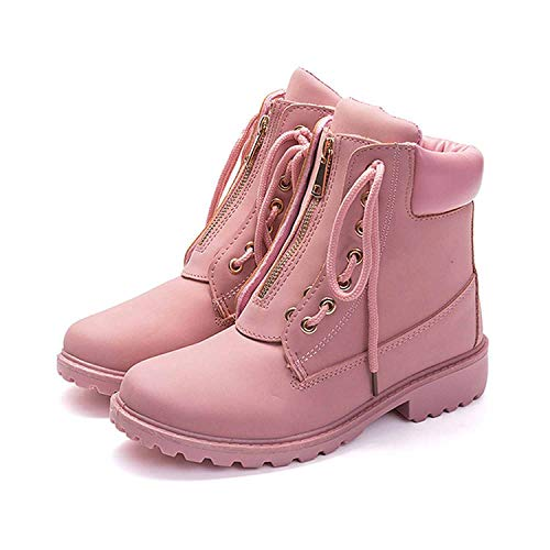 2018 Autumn Winter Shoes Women Flat Heel Boots Fashion Women's Snow Ankle Botas Hard Outsole Boots,Pink,7.5 (Hpi Hiking Shoes)
