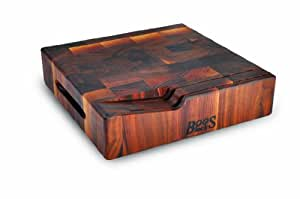 """John Boos Walnut End Grain Butcher Block Cutting Board with Hand Grips and Slotted Knife Holder, 12"""" x 12"""" x 3 Inches"""