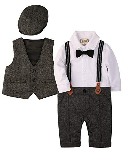 ZOEREA Baby Boy Outfits Set, 3pcs Long Sleeves Gentleman Jumpsuit & Vest Coat & Berets Hat with Bow Tie (Label 90/Age 15-20 Months, Gray) ()