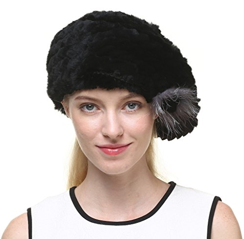 vogueearth Women'Real Knitted Rex Rabbit Fur Winter Warmer Berets Hat Black
