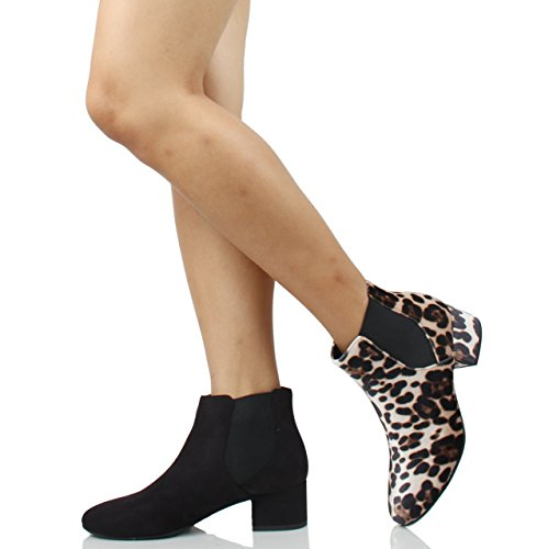 Women's Black Suede Heel Closed City Ankle Bootie Classified Elastic Faux Toe Block qxSSaw5