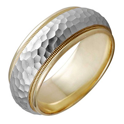 14K Two Tone Gold Milgrain Pattern Men's Hammered Finish Comfort Fit Wedding Band (8mm) Size-12 - Comfort Fit Two Tone Ring