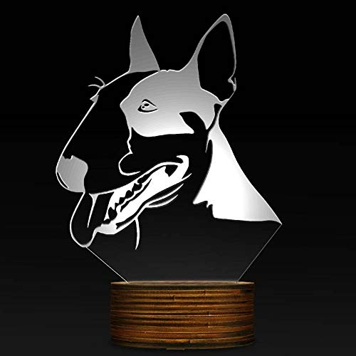 Novelty Lamp, Optical Illusion 3D LED Lamp Bull Terrier Night Light, USB Powered Remote Control Changes The Color of The Light, Bedroom Decoration Lighting for Children's, Ambient Ligh by LIX-XYD (Image #2)