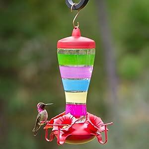 Perky-Pet Colorful Stripes Glass Hummingbird Feeder, 10 oz.