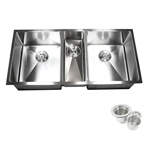 Contempo Living Inc 16-gauge Stainless Steel 42-inch 15-millimeter Radius Triple-bowl Undermount Kitchen Sink Combo