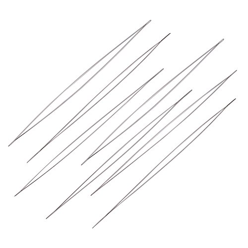 Hand Beading - 10PCS Stainless Steel Large Big Eye Beading Needle Easy Thread Sewing Needles, 12.5cm long, 0.1mm thick, hole: about 0.1mm
