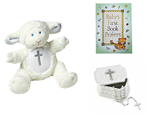 Baby Christening Baptism Gift Set  Keepsake Box Rosary Lamb and Book of Prayers