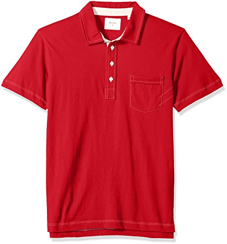 Billy Reid Men's Short Sleeve Pensacola Polo Shirt with Pocket, salsa, Medium ()