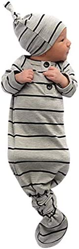 COLOOM Infant Baby Tie Nightgown and Matching Hat Cotton Sleep Gown with a Tie Bottom for Boy Girl Unisex Grey