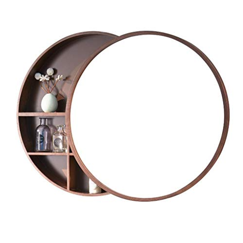 HGXC Round Mirror, Bathroom Mirror Cabinet Sliding Locker Walnut Wood Wall Mounted Mirror 50 50cm Mirror - Cabinet Walnut Pulls