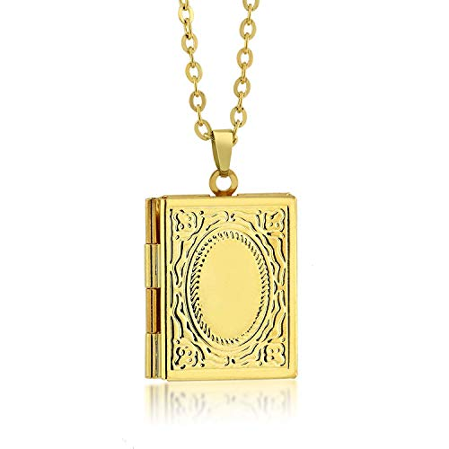 Gem Stone King Timeless 1inches Story Book Shaped Locket Pendant with 18inches Chain