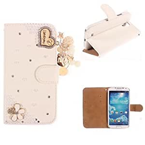 DUR Rhinestone Handmade Bling Heart-Shaped Design Leather Case for Samsung Galaxy S4 mini I9190