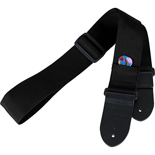 (Protec Guitar Strap with Leather Ends and Pick Pocket, Black)