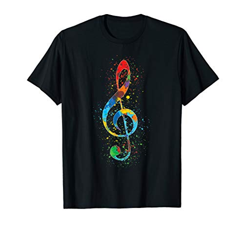 Treble Clef Paint - Treble Clef Paint Splatter Art Colorful Vibrant Arty T-Shirt