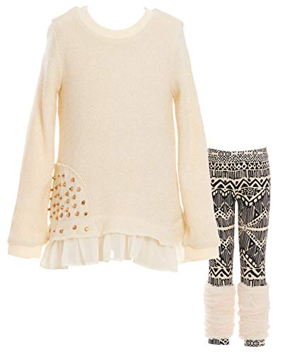 Girls' Long Sleeve Embellished Top & Bottom Set, 2-6X, 7-14 (4, Ivory/Gold) by SaraSara