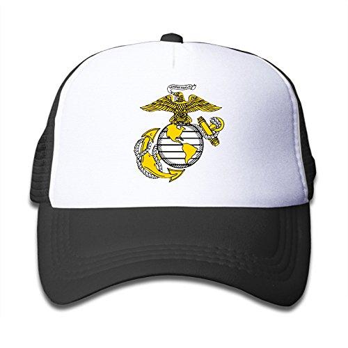 Kualday Kids USMC Marine Corps Logo Trucker Hat Cap Black Black