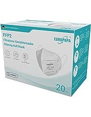 EUROPAPA 20x Beademing FFP2 masker met 5 lagen CE|2163 - getest door DEKRA - hygiënisch individueel verpakt
