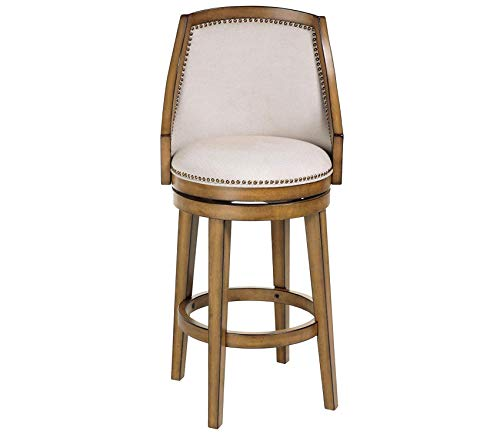 (Deluxe Premium Collection Charleston Swivel Seat Bar Stool with Acorn Finished Wood Frame Putty Upholstery and Antique Brass Nailhead Trim 30-Inch Seat Height Decor Comfy Living Furniture)