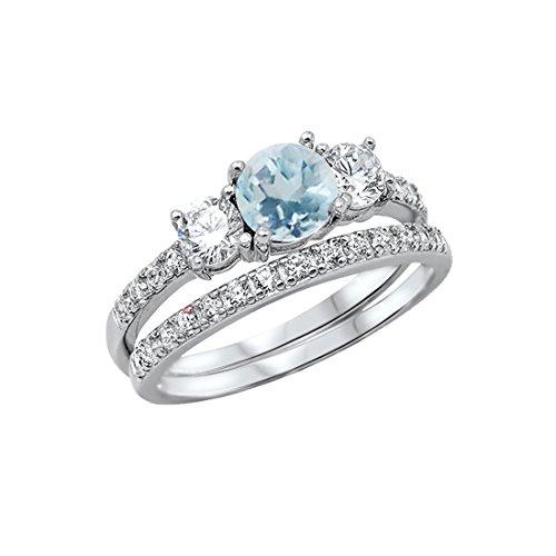 Blue Apple Co. 3-Stone Wedding Bridal Set Ring Band Round Simulated Aquamarine 925 Sterling Silver, Size-5