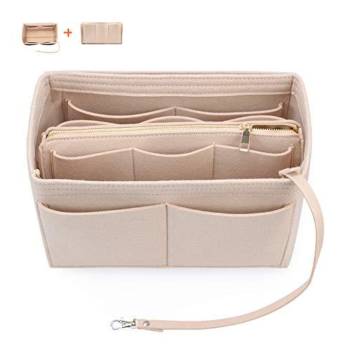Felt Woman Handbag Organizer with Zipper Tote Purse Bag in Bag Insert Fit Hermes (Beige, Medium)