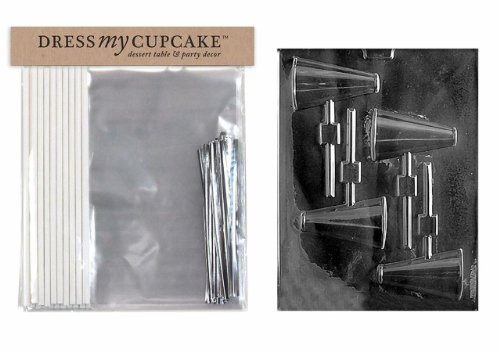 Dress My Cupcake DMCKITS020 Chocolate Candy Lollipop Packaging Kit with Mold, Megaphone Lollipop