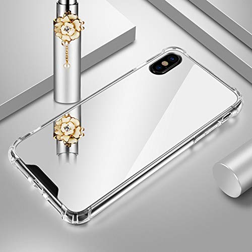 Luxury Plating Mirror Case for iPhone Xs Max Case TPU Back Protector Case+Anti Shock Hard Acrylic for Apple iPhone Xs Max Cover Case Protective Shell for Women Grils (Sliver)