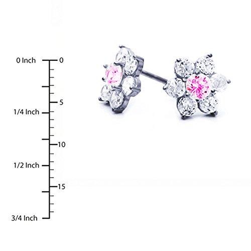 Petits Merveilles D'amour - Boucles d'oreilles Clous - Enfant & Femme - Argent Fin 925/1000 Plaqué Or Blanc - Oxyde de Zirconium