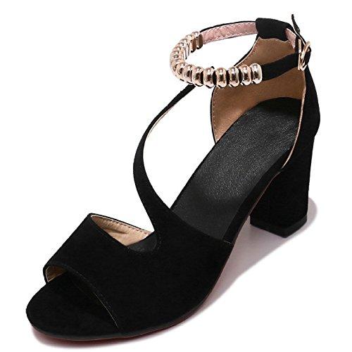 Filles Des Femmes Open Toe Block Cheville Strappy Chaton Talons De Mariage Dansant Chaussures Sandales Black