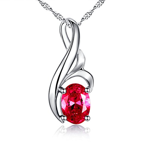 "Mabella Sterling Silver Jewelry Oval Shape July Birthstone Necklace Simulated Ruby Pendant, 18"" Gift for Women"