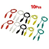 TOOGOO(R) 10 Pcs 5-Color Double Ended Alligator Clips Test Lead Jumper Wire 48cm 1.6 Ft