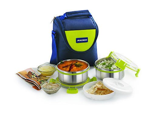 Magnus Fresh Meal Aura 2 Stainless Steel Containers Lunch Box With Clip Lock & Bag (2 pcs set) Aura Clip