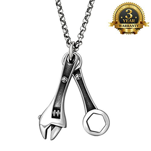 W-Q Mens Trendy Personality Wrench Pendant Titanium Steel Necklace Sautoir Jewelry(20