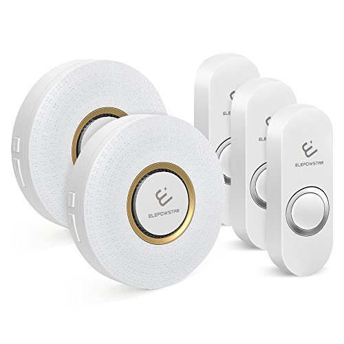 Price comparison product image Wireless Doorbell,ELEPOWSTAR Waterproof Door Chime Kit Operating at 1000 Feet Range with 52 Melodies Chimes,2 Plugin Receivers and 3 Push Buttons