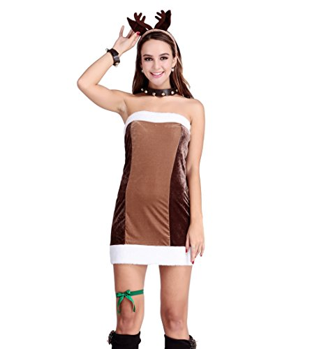 Mrs Brown M&m Costume (Brown Christmas Party Costume Santa Claus Velvet Dress Sexy Suit Cosplay Dance Dress)