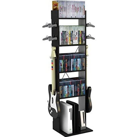 Atlantic 3880-6138 GAME CENTRAL TALL / BLACK HOLDS GAME CONSOLE MEDIA & ACCESS by Atlantic (Atlantic Game Central Tall)