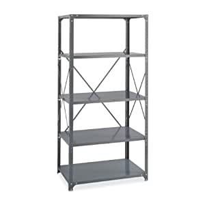 """Safco Products 6266 Commercial Shelf Kit 36""""W x 18""""D x 72""""H with 5 Shelves, Gray"""