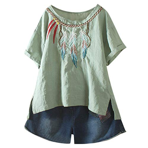 Haalife◕‿Women Chiffon Short Sleeve Blouse Casual Boho Embroidered Shirts top Split Side Green ()