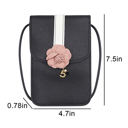 Purse Messengger Pocket Women Flower Crossbody Small Phone Canvas Black Wallet Purse Bags Double Cell Bag with 11AwEqP