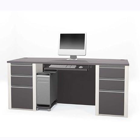 Bestar Office Furniture Connexion Collection Melamine Finish Computer Desk,  Slate/Sandstone