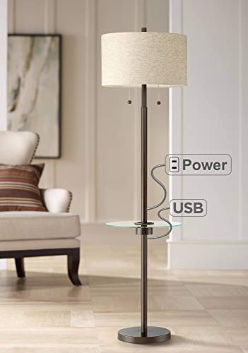 Morrow Bronze Tray Table Floor Lamp with USB Port and Outlet - Possini Euro Design
