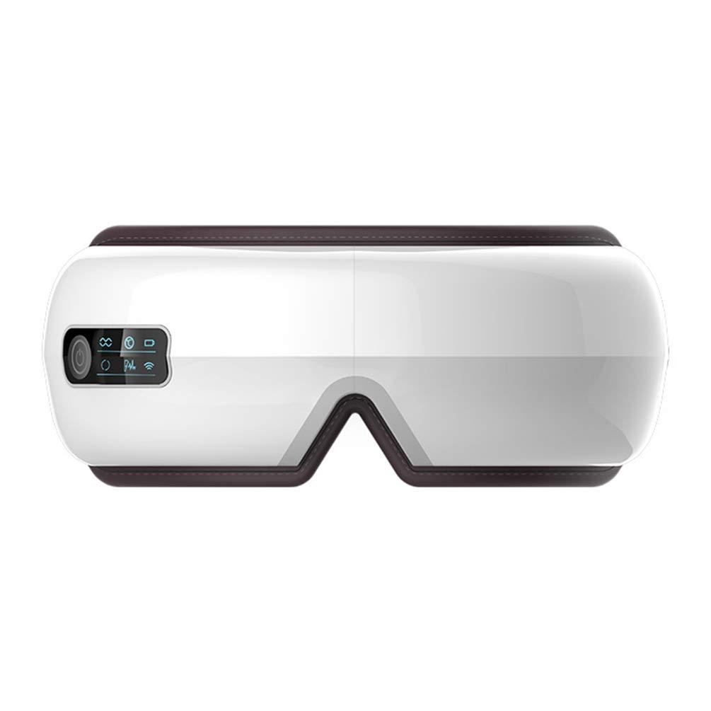 電動アイマッサージャー、折りたたみ式、充電式アイマッサージャー、熱圧縮、頭痛音楽、アイリラックス、振動マッサージ、ストレス解消、トラベルオフィスホームカーウォームフルギフト, white B07SS2722H