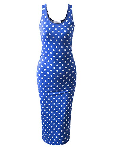 JJ Perfection Women's Scoop Neck Slim Fit Sleeveless Stretchy Tank Midi Dress DENIMBLUEDOT M