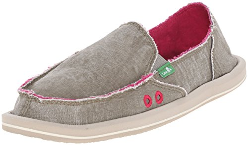 Sanuk Women's Donna Distressed Flat, Grey Olive, 8 M US