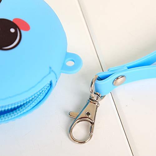Cartoon Mini-ronde animal Petit silicone Porte-Monnaie Femmes cl/é sac Porte-monnaie Pi/èce de monnaie pour les enfants de cadeau de No/ël Bleu