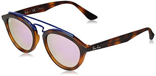 Ray-Ban Women's Injected Woman Non-Polarized Iridium Round Sunglasses, Matte Havana, 50 - Ray Ban Bridge Round Double
