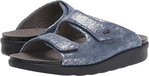 (SAS Women's Cozy Silver/Blue 12 W - Wide (C) US)