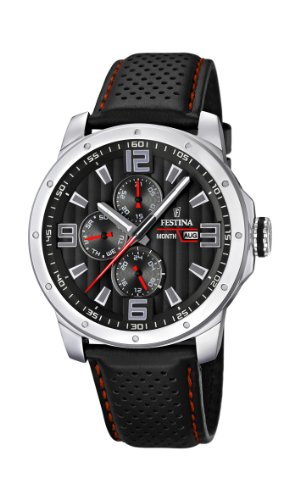 Men's Watch Festina F16585/8 Leather Band Black Dial by Festina