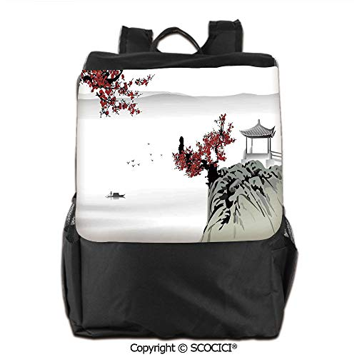 (Waterproof School Bag,Asian River Scenery with Cherry Blossoms and Boat Cultural Hints Mystical View Artsy Work, for Children, classmates and Friends,19)