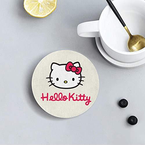 Gambar Hello cartoon cat logo Healthy CoasterPrint Round Coaster Absorbent Pad